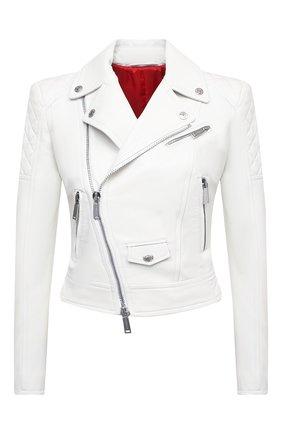 Женская кожаная куртка DSQUARED2 белого цвета, арт. S75AM0841/SY1491 | Фото 1