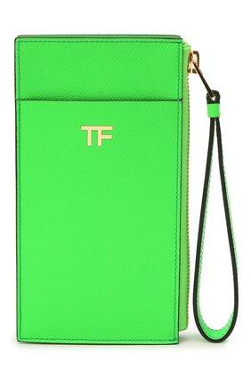 Женский кожаный футляр для кредитный карт TOM FORD зеленого цвета, арт. S0336T-LCL143 | Фото 1 (Материал: Кожа)