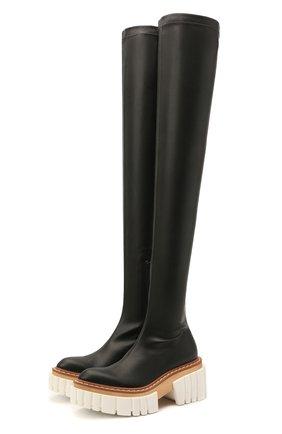 Женские комбинированные ботфорты emilie STELLA MCCARTNEY черного цвета, арт. 800315/W1CV0 | Фото 1