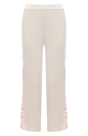 Женские шерстяные брюки STELLA MCCARTNEY кремвого цвета, арт. 581719/S2235 | Фото 1 (Длина (брюки, джинсы): Стандартные; Материал внешний: Шерсть; Женское Кросс-КТ: Брюки-одежда; Силуэт Ж (брюки и джинсы): Прямые; Стили: Спорт-шик)