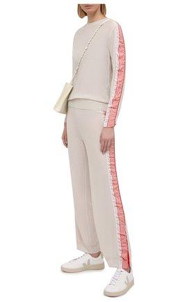 Женские шерстяные брюки STELLA MCCARTNEY кремвого цвета, арт. 581719/S2235 | Фото 2 (Длина (брюки, джинсы): Стандартные; Материал внешний: Шерсть; Женское Кросс-КТ: Брюки-одежда; Силуэт Ж (брюки и джинсы): Прямые; Стили: Спорт-шик)