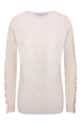 Женский шерстяной пуловер STELLA MCCARTNEY кремвого цвета, арт. 575384/S2235 | Фото 1 (Длина (для топов): Стандартные; Рукава: Длинные; Материал внешний: Шерсть; Женское Кросс-КТ: Пуловер-одежда; Стили: Спорт-шик)