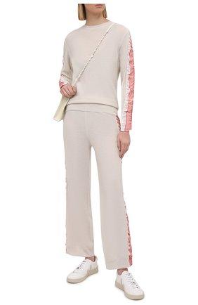 Женский шерстяной пуловер STELLA MCCARTNEY кремвого цвета, арт. 575384/S2235 | Фото 2 (Длина (для топов): Стандартные; Рукава: Длинные; Материал внешний: Шерсть; Женское Кросс-КТ: Пуловер-одежда; Стили: Спорт-шик)