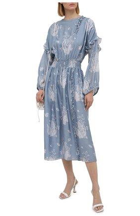 Женское шелковое платье GIORGIO ARMANI голубого цвета, арт. 1SHVA07P/T02AY | Фото 2