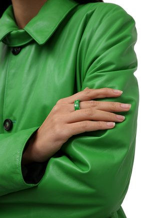 Женское кольцо BOTTEGA VENETA зеленого цвета, арт. 649527/VB0B8   Фото 2 (Материал: Серебро)