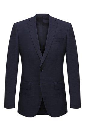 Мужской шерстяной пиджак BOSS темно-синего цвета, арт. 50450501   Фото 1 (Материал внешний: Шерсть; Длина (для топов): Стандартные; Рукава: Длинные; 1-2-бортные: Однобортные; Пиджаки М: Приталенный; Случай: Коктейльный; Стили: Классический)