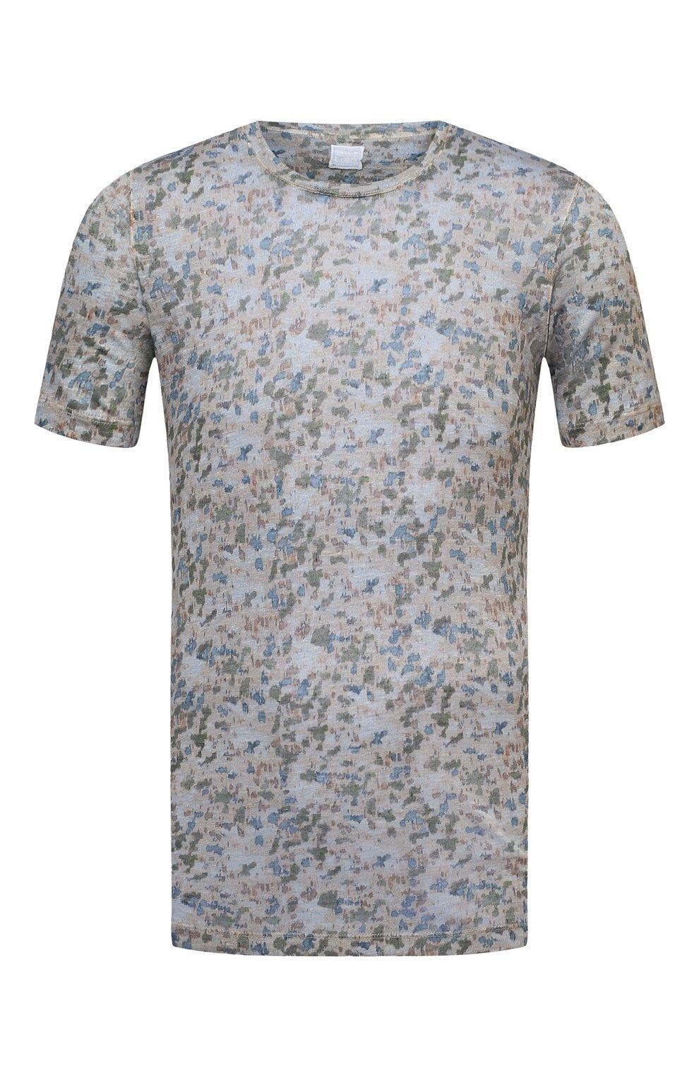 Мужская льняная футболка 120% LINO разноцветного цвета, арт. T0M7186/F937/S00 | Фото 1 (Рукава: Короткие; Длина (для топов): Стандартные; Принт: С принтом; Материал внешний: Лен; Стили: Кэжуэл)