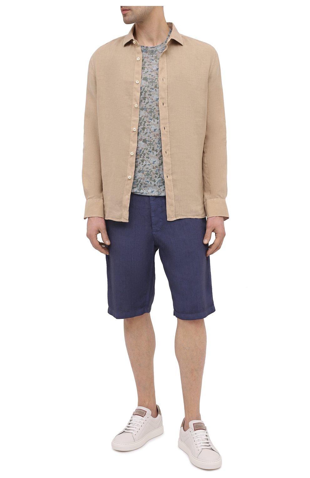 Мужская льняная футболка 120% LINO разноцветного цвета, арт. T0M7186/F937/S00 | Фото 2 (Рукава: Короткие; Длина (для топов): Стандартные; Принт: С принтом; Материал внешний: Лен; Стили: Кэжуэл)