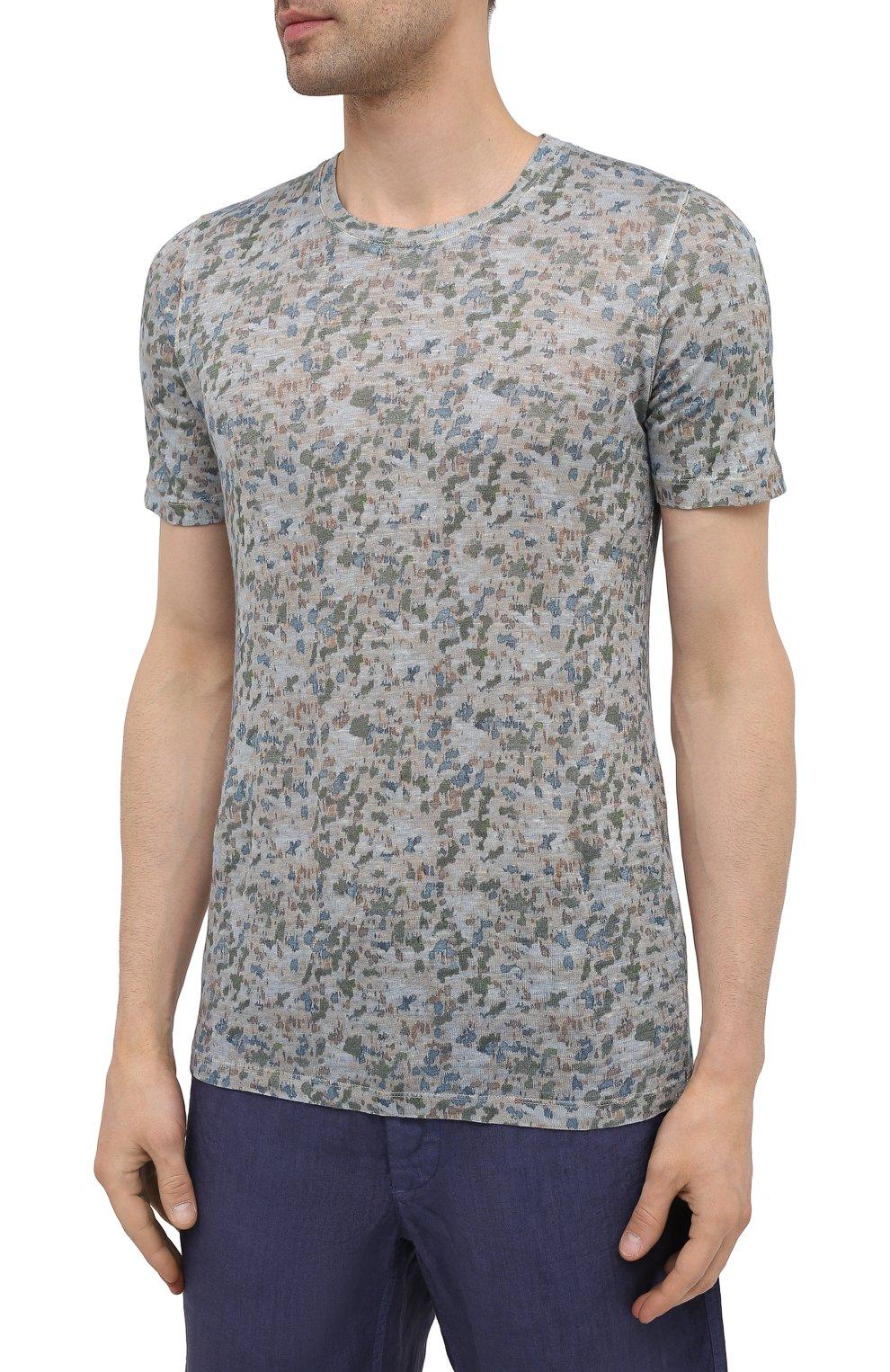 Мужская льняная футболка 120% LINO разноцветного цвета, арт. T0M7186/F937/S00 | Фото 3 (Рукава: Короткие; Длина (для топов): Стандартные; Принт: С принтом; Материал внешний: Лен; Стили: Кэжуэл)