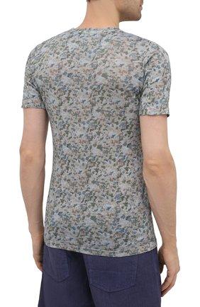 Мужская льняная футболка 120% LINO разноцветного цвета, арт. T0M7186/F937/S00 | Фото 4 (Рукава: Короткие; Длина (для топов): Стандартные; Принт: С принтом; Материал внешний: Лен; Стили: Кэжуэл)