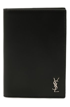 Мужской кожаная обложка для паспорта SAINT LAURENT черного цвета, арт. 607659/1JB0E | Фото 1
