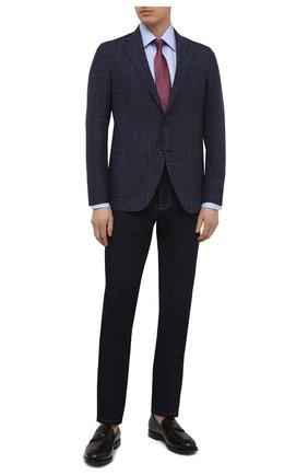 Мужской пиджак из шерсти и хлопка SARTORIA LATORRE темно-синего цвета, арт. EF74 Q90512 | Фото 2 (Рукава: Длинные; Длина (для топов): Стандартные; Материал подклада: Купро; Материал внешний: Шерсть, Хлопок; Пиджаки М: Прямой; 1-2-бортные: Однобортные; Случай: Коктейльный; Стили: Классический)