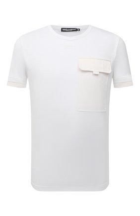 Мужская хлопковая футболка DOLCE & GABBANA белого цвета, арт. G8MW5Z/G7YJF | Фото 1
