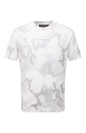 Мужская хлопковая футболка DOLCE & GABBANA белого цвета, арт. G8MN0Z/G7YEC | Фото 1