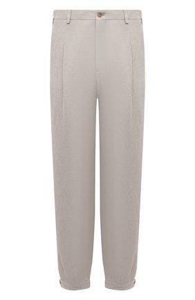 Мужские брюки изо льна и вискозы GIORGIO ARMANI светло-бежевого цвета, арт. 0WGPP0D6/T02H1 | Фото 1 (Длина (брюки, джинсы): Стандартные; Материал подклада: Купро; Материал внешний: Вискоза, Лен; Стили: Кэжуэл; Случай: Повседневный)
