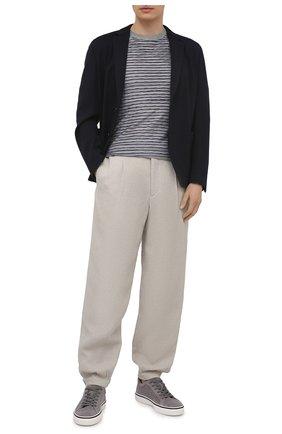 Мужские брюки изо льна и вискозы GIORGIO ARMANI светло-бежевого цвета, арт. 0WGPP0D6/T02H1 | Фото 2 (Длина (брюки, джинсы): Стандартные; Материал подклада: Купро; Материал внешний: Вискоза, Лен; Стили: Кэжуэл; Случай: Повседневный)