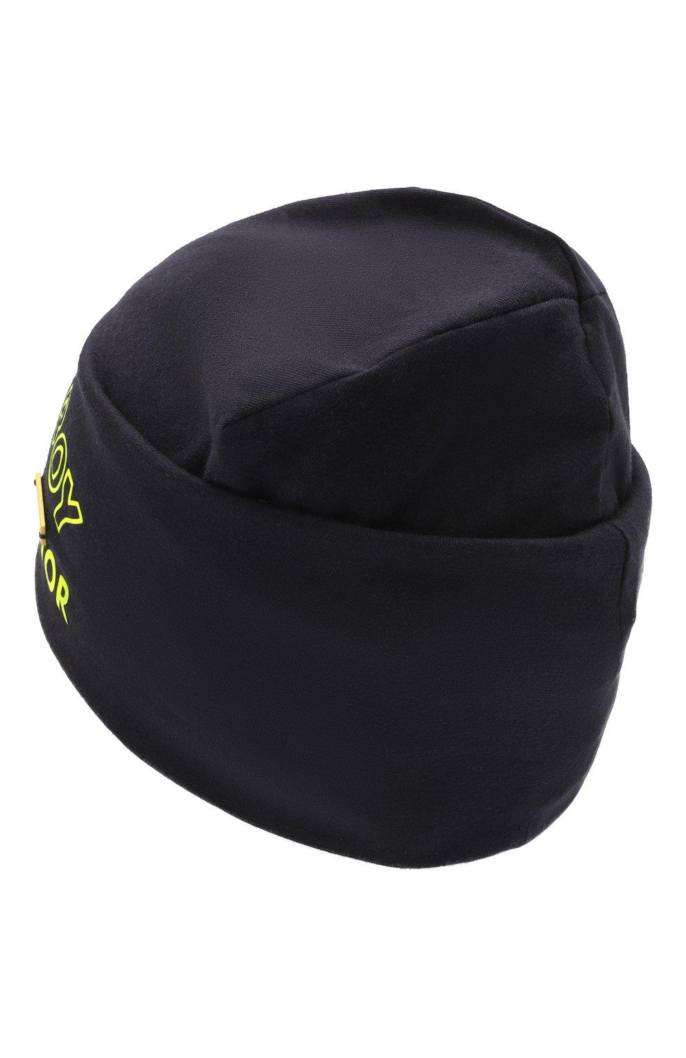 Детского хлопковая шапка IL TRENINO темно-синего цвета, арт. 21 5266 | Фото 2 (Материал: Текстиль, Хлопок)