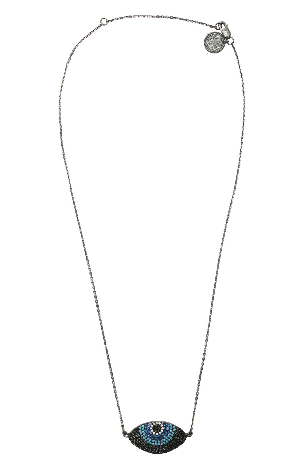 Женское колье глаз for fun DZHANELLI серебряного цвета, арт. 14738/090 | Фото 1 (Материал: Серебро)