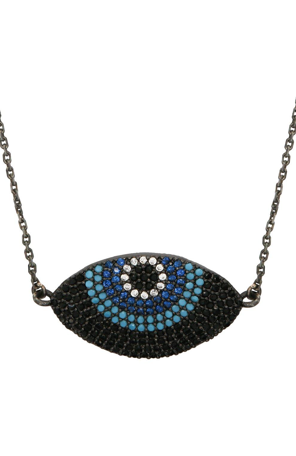 Женское колье глаз for fun DZHANELLI серебряного цвета, арт. 14738/090 | Фото 2 (Материал: Серебро)
