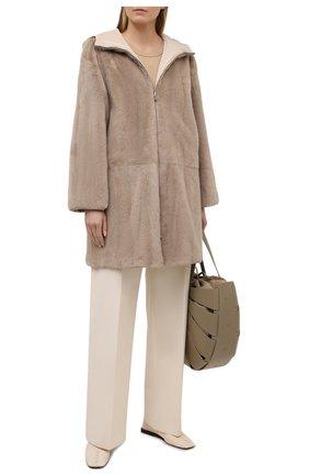 Женская шуба из меха норки LORO PIANA светло-бежевого цвета, арт. FAL5391 | Фото 2