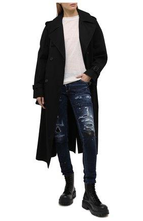 Женские джинсы DSQUARED2 темно-синего цвета, арт. S75LB0493/S30708 | Фото 2