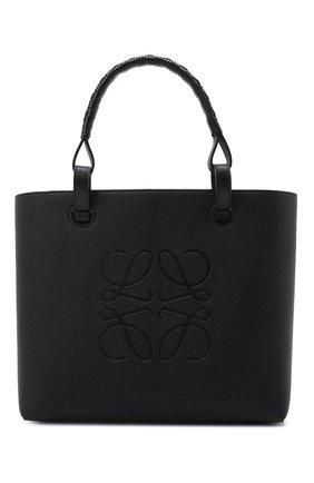 Женский сумка-тоут anagram small LOEWE черного цвета, арт. A717S72X03   Фото 1 (Материал: Натуральная кожа; Размер: small, medium; Сумки-технические: Сумки-шопперы; Ошибки технического описания: Нет ширины)