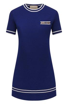 Женское шерстяное платье GUCCI синего цвета, арт. 650387/XKBNZ | Фото 1 (Рукава: Короткие; Материал внешний: Шерсть; Длина Ж (юбки, платья, шорты): Мини; Стили: Ретро; Женское Кросс-КТ: Платье-одежда; Случай: Повседневный)