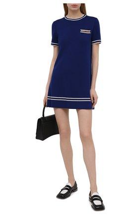Женское шерстяное платье GUCCI синего цвета, арт. 650387/XKBNZ | Фото 2 (Рукава: Короткие; Материал внешний: Шерсть; Длина Ж (юбки, платья, шорты): Мини; Стили: Ретро; Женское Кросс-КТ: Платье-одежда; Случай: Повседневный)