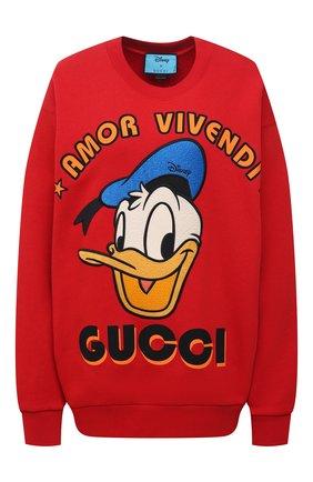 Женский хлопковый свитшот disney x gucci GUCCI красного цвета, арт. 617964/XJDC1 | Фото 1
