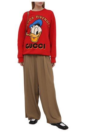 Женский хлопковый свитшот disney x gucci GUCCI красного цвета, арт. 617964/XJDC1 | Фото 2