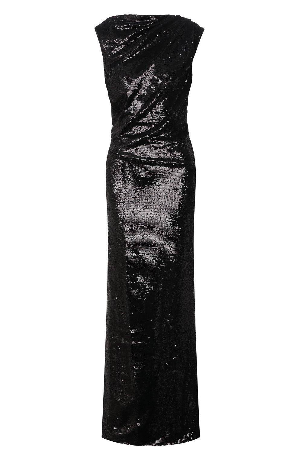 Женское платье с пайетками THE ATTICO черного цвета, арт. 211WCW22/M010 | Фото 1