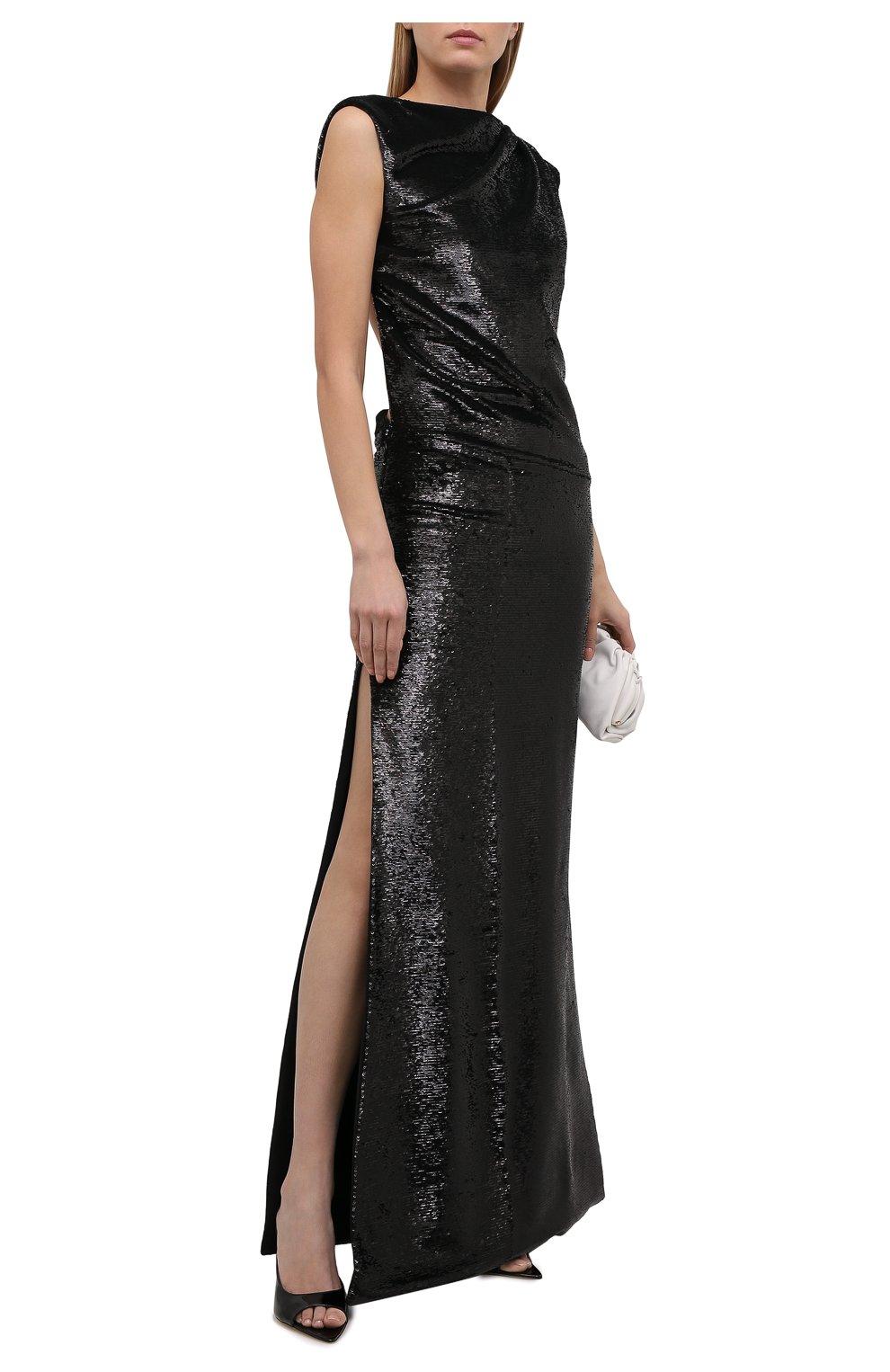 Женское платье с пайетками THE ATTICO черного цвета, арт. 211WCW22/M010 | Фото 2