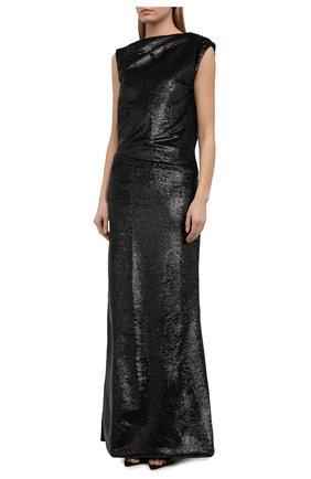 Женское платье с пайетками THE ATTICO черного цвета, арт. 211WCW22/M010 | Фото 3