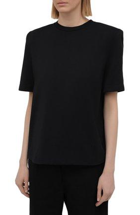 Женская хлопковая футболка THE ATTICO черного цвета, арт. 211WCT04/C023   Фото 3