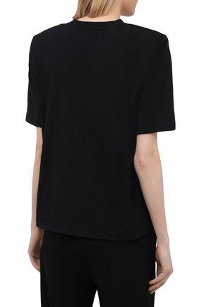 Женская хлопковая футболка THE ATTICO черного цвета, арт. 211WCT04/C023   Фото 4