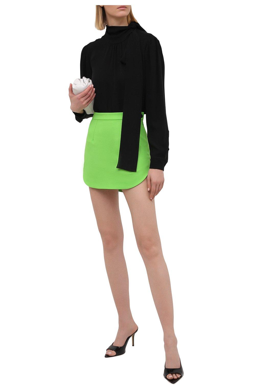Женская шерстяная юбка THE ATTICO зеленого цвета, арт. 211WCS44/W009   Фото 2