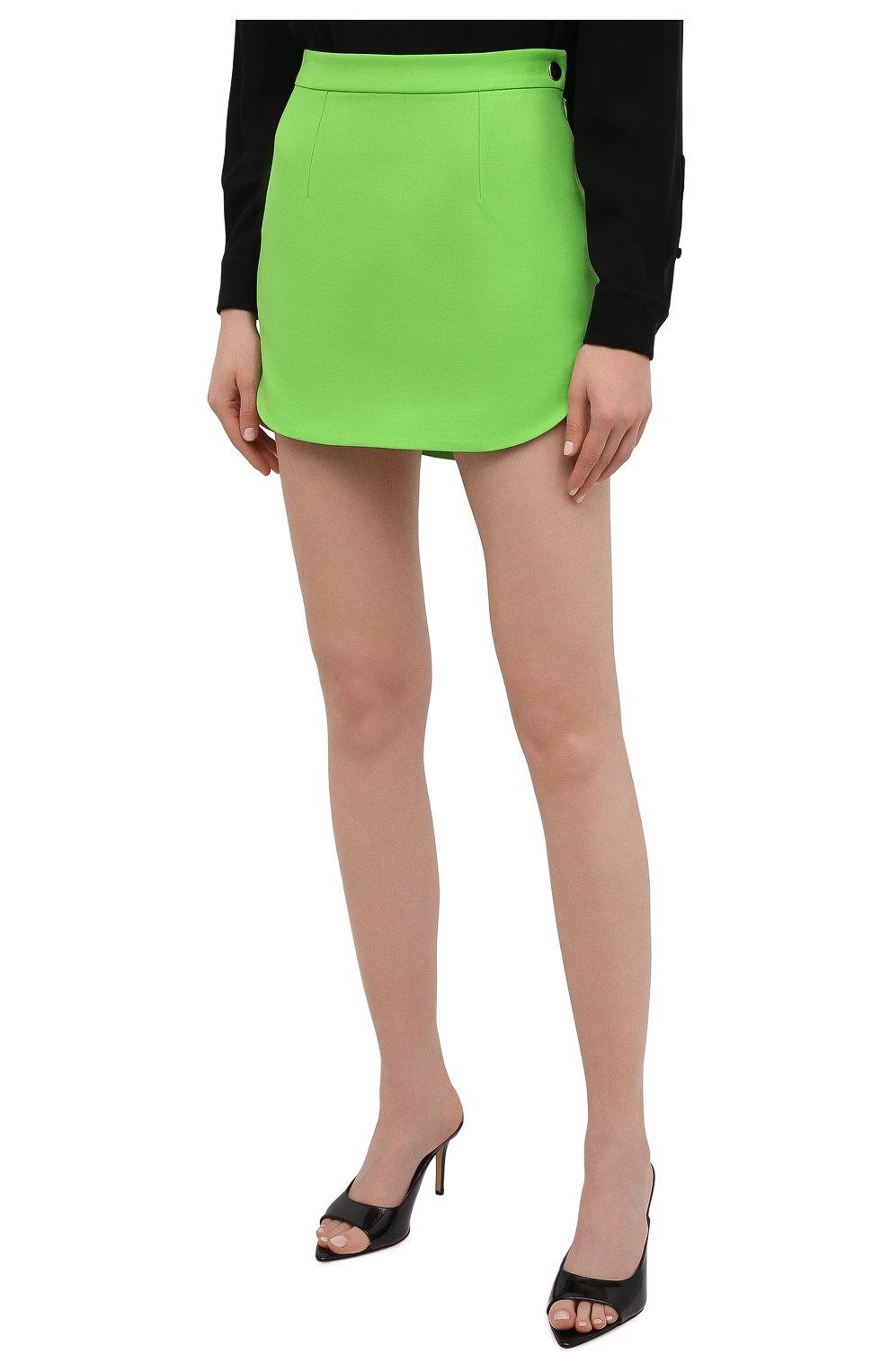 Женская шерстяная юбка THE ATTICO зеленого цвета, арт. 211WCS44/W009   Фото 3