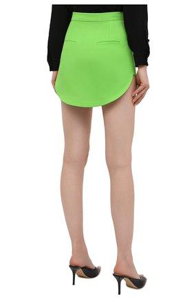 Женская шерстяная юбка THE ATTICO зеленого цвета, арт. 211WCS44/W009   Фото 4