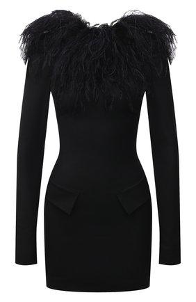 Женское платье с отделкой перьями THE ATTICO черного цвета, арт. 211WCA56/W009R | Фото 1