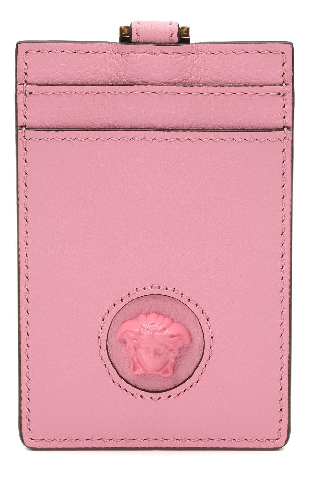 Женский кожаный футляр для кредитных карт la medusa VERSACE розового цвета, арт. DP3I100/DVIT5T | Фото 1