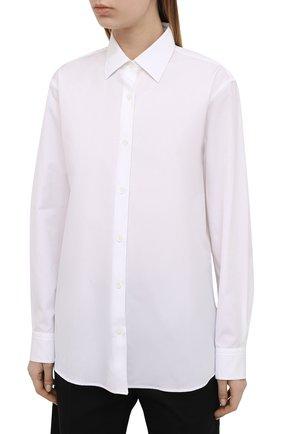 Женская хлопковая рубашка DRIES VAN NOTEN белого цвета, арт. 211-10779-2166 | Фото 3