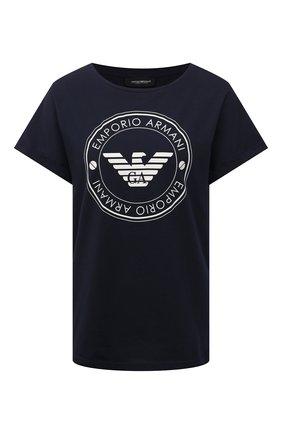 Женская хлопковая футболка EMPORIO ARMANI темно-синего цвета, арт. 164340/1P255 | Фото 1