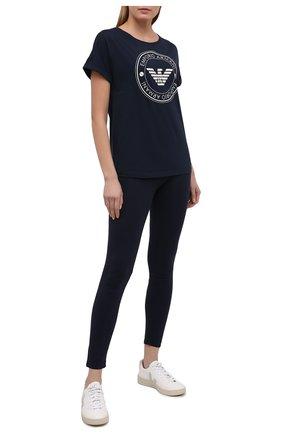 Женская хлопковая футболка EMPORIO ARMANI темно-синего цвета, арт. 164340/1P255 | Фото 2