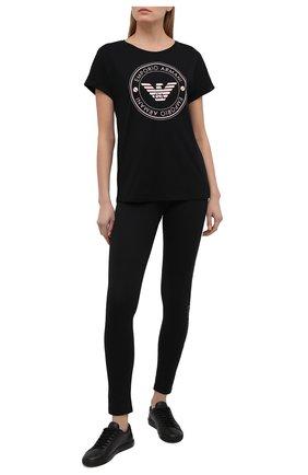 Женская хлопковая футболка EMPORIO ARMANI черного цвета, арт. 164340/1P255 | Фото 2