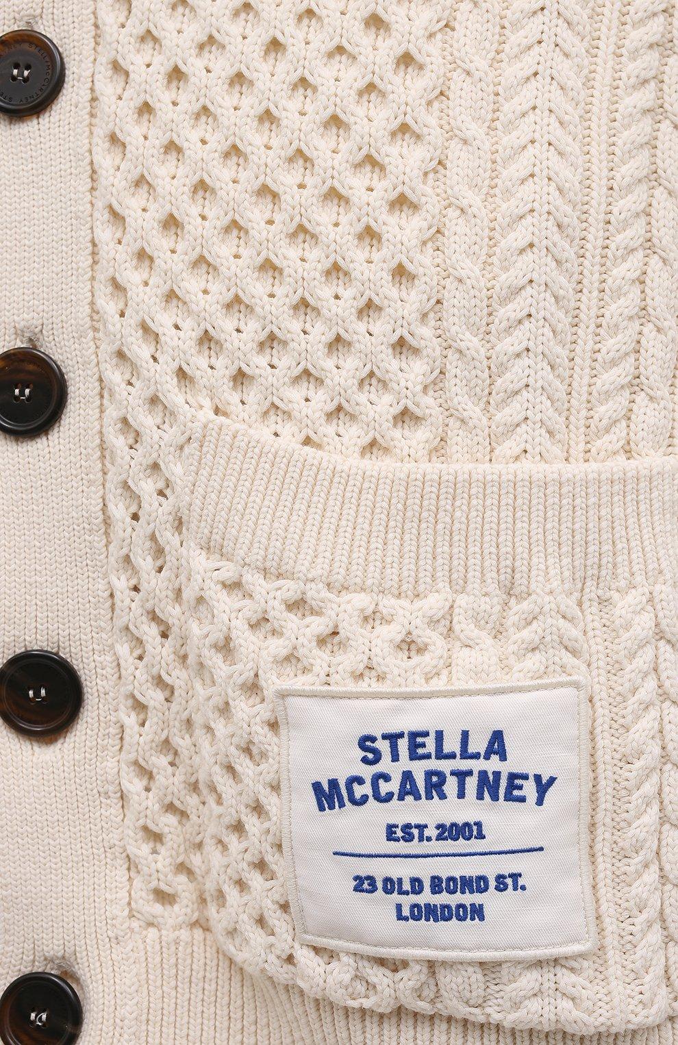 Женский хлопковый кардиган STELLA MCCARTNEY кремвого цвета, арт. 603114/S7226 | Фото 5