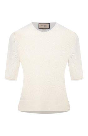 Женский шерстяной пуловер GUCCI белого цвета, арт. 650676/XKBL7 | Фото 1