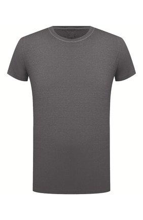 Мужская льняная футболка 120% LINO темно-серого цвета, арт. T0M7186/E908/S00 | Фото 1 (Длина (для топов): Стандартные; Материал внешний: Лен; Рукава: Короткие; Стили: Кэжуэл; Принт: Без принта)