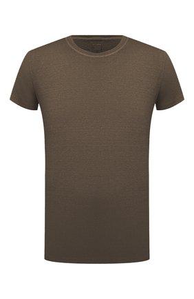 Мужская льняная футболка 120% LINO хаки цвета, арт. T0M7186/E908/S00 | Фото 1