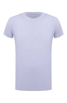 Мужская льняная футболка 120% LINO голубого цвета, арт. T0M7186/E908/S00 | Фото 1 (Длина (для топов): Стандартные; Материал внешний: Лен; Рукава: Короткие; Принт: Без принта; Стили: Кэжуэл)