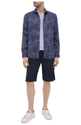 Мужская льняная футболка 120% LINO голубого цвета, арт. T0M7186/E908/S00 | Фото 2 (Длина (для топов): Стандартные; Материал внешний: Лен; Рукава: Короткие; Принт: Без принта; Стили: Кэжуэл)